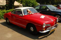 Red and white Karmann Ghia