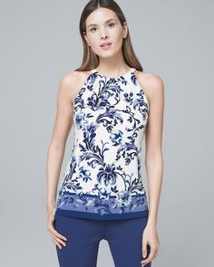 Sleeveless Floral-Print Knit Top