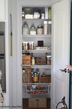 Pantry organization - great idea to keep the basket under the shelf!