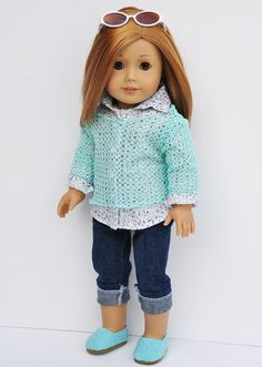 American Girl Clothes Mint Mesh Sweater by LoriLizGirlsandDolls