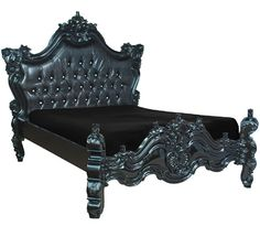romantic-bed-black-fabulous-baroque-1.jpg baroqu bed, decor, royal fortun, baroque, beds, hous, furnitur, black, bedroom