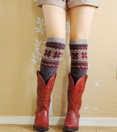 Red wine with Charcoal Leg Warmers.Very Cute leg warmers,boot socks,boot cuffs,Christmas gift.