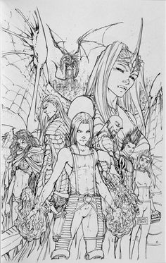 Soulfire pencil cover sketch by Michael Turner