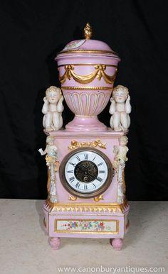 German Dresden Porcelain Cherub Clock Cherubim Putti