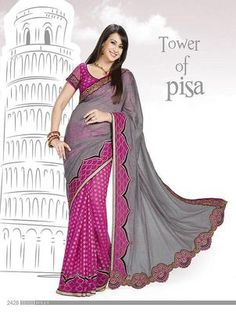 fancy gray and pink saree