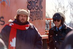 Dan Ackroyd and John Candy during the filming of the movie Canadian Bacon, 1993