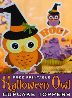 Halloween owl cupcake toppers