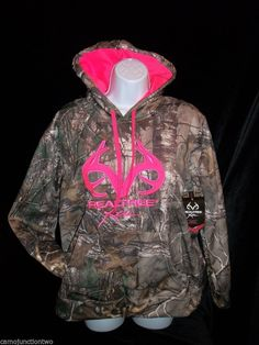 Womens / Ladies Realtree Xtra Camo Hot Pink Pullover Hoodie Hunting Jacket Sweat