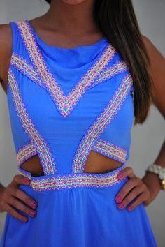 Feeling So Native Dress: Blue/Neon Pink | Hope's