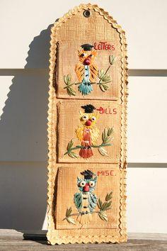 Vintage 1950s owl letter holder - letter organizer