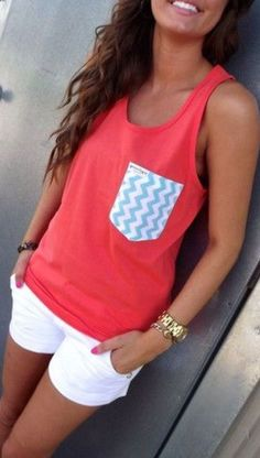 Dark Coral & Chevron Pocket