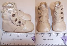 Victorian Antique Beige Cream Leather High Button Baby Boots Infant Shoes