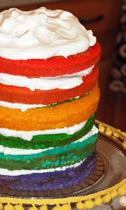 Rainbow Layer Cake-- & other cute rainbow party ideas