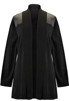 Pleather Shoulder Cardigan