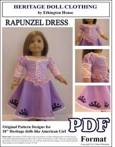 Rapunzel Dress PDF Pattern for American Girl Doll by MotherofNine, $4.50