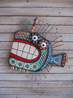 Twisted Fish 127  Found Object Wall Art by Fig Jam
