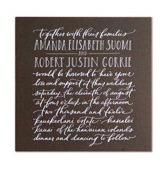 Paperfinger, i.e. Bryn Chernoff, hand lettered wedding invitation