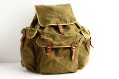 Vintage Backpack  Leather and Canvas Trekking by CrolAndCo on Etsy, $105.00