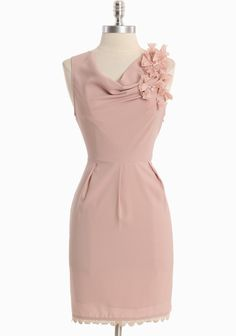 """Her Grace Rosette Dress 65.99 at shopruche.com. Raw edged blooms perfectly accent the classic silhouette of this dusty pink dress. This silky style is polished with faux pearl details, a crocheted hem, and a hidden side zipper closure. Fully lined.Self: 96% Polyester, 4% Spandex, Lining: 100% Polyester, Imported, 34"""" length from top of shoulders, 30"""" bust, 28"""" waist, All measurements taken from a size small, ,"""