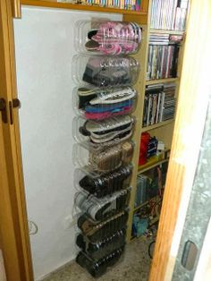 Water bottles into shoe rack