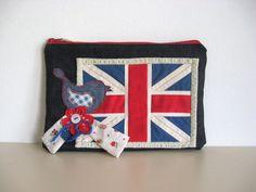 Union Jack Denim Red Blue Bird Flower Clutch Purse Handbag England Flag All Day Evening  Romantic Whimsical Zipper Pouch Cosmetic Bag OOAK on Etsy, $29.00