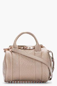 Alexander Wang Latte Brown Glossed Leather Rockie Mini Duffle Bag for women | SSENSE