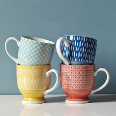 westelm, bowl, pattern, morning coffee, coffee cups, kitchen, teacup, west elm, bright colors