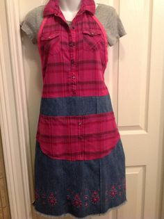 Upcycled Recycled Repurposed Denim Apron by HookinUp on Etsy, $24.00