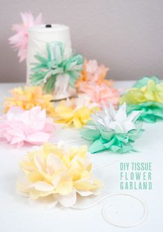 DIY tissue flower garland!
