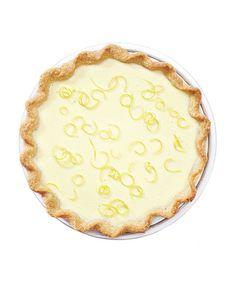 Lemon Cheesecake Pie Recipe | Real Simple Recipes- super easy put ALL ingredients in food processor. Bake!