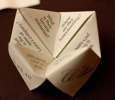 Homemade fortune-teller to keep guests entertained during the cocktail reception