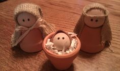 """Clay Pot Nativity – Nativity Craft …  Handmade Nativity Includes Baby Jesus, Mary And Joseph.  Clay Pots Are Left Natural – Not Painted. Burlap Is Used For Headdress.  Made From 1 1/2″ Clay Pots 1 1/2 """" Wooden Balls Are Used For The Heads Of Mary And Joseph. 1"""" Wooden Balls Form Baby Jesus Height Is Approximately 3″. - Click for More..."""