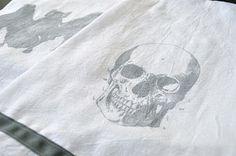 vintage images, skull, tea towels, fiber craft, kitchen towels, prints, diy, halloween