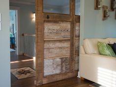 Reclaimed Wood Sliding Door >> http://www.diynetwork.com/blog-cabin/blog-cabin-2013-media-room-pictures/pictures/index.html?soc=bc sliding barn doors, slide door, cabins, cabin 2013, blog cabin, wood slide, cabin door, wood doors, sliding doors