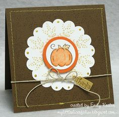 "My Little Slice of Bliss: Adorable pumpkin ""Thanks"" card"