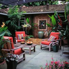 Tropical plants in containers bring flair to your backyard space! More patio ideas here: http://www.bhg.com/home-improvement/patio/24-patio-perk-ups/?socsrc=bhgpin062014headforthetropics&page=19