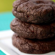 chocolate chocolate chip cookie recipe. I used regular cocoa powder instead of dark and used milk chocolate chips. Use a scooper to keep a nice cookie shape.