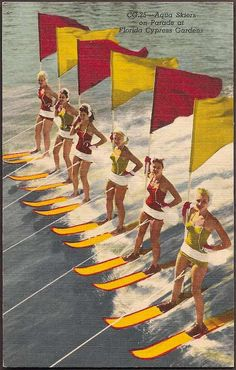Cypress Gardens, Florida Vintage Postcard - Aqua Skiers on Parade, bathing beauties, vintage swimsuits