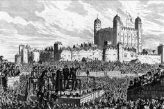 This supposedly shows the execution of John Dudley, Duke of Northumberland. He was the father of Robert Dudley (Elizabeth's favourite) and Guildford Dudley. The story is that he forced Guildford to marry Lady Jane Grey, and then rushed to put Jane on the throne when Edward VI died. Mary Tudor (Bloody Mary) was able to raise an army, march on London, capture Northumberland, and have him executed for treason.