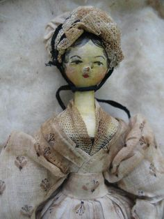Beautiful Early 19thC Tuckcomb Wooden Doll (Grodnerthal)