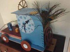 cardboard steampunk train