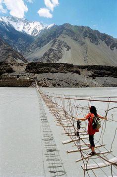 Crossing the Hunza.Pakistan