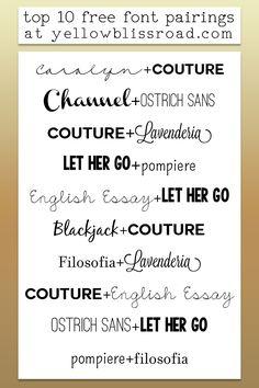 pairing fonts, font combo, free fonts, font pairing