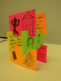This is a story tower where children illustrate the title on one card, the setting, author's purpose, beginning, middle, end... whatever! They write sentences or a paragraph on the back. Then they build it...This can be each child doing one card to build a group story tower or each child can make their own.(Pic only/See explanation above)
