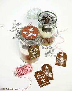 Hot Cocoa Mix Gift in a Jar with free printable