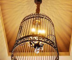 DIY restoration hardware birdcage chandelier.
