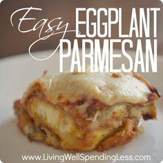 Easy Eggplant Parmesan Recipe--YUM! #eggplant #vegetarian #recipe sub almond meal for bread crumbs