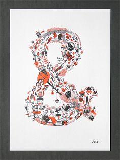 Gemma Correll Limited Ed. Letterpress Print.  graphic, poster, letterpress print, typography, peanut butter, gemma correl, design, ampersand, banner