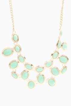 Gold & aqua jeweled necklace.