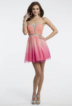 Camille La Vie Short Prom Dress with Strapless Neckline in an Ombre Color